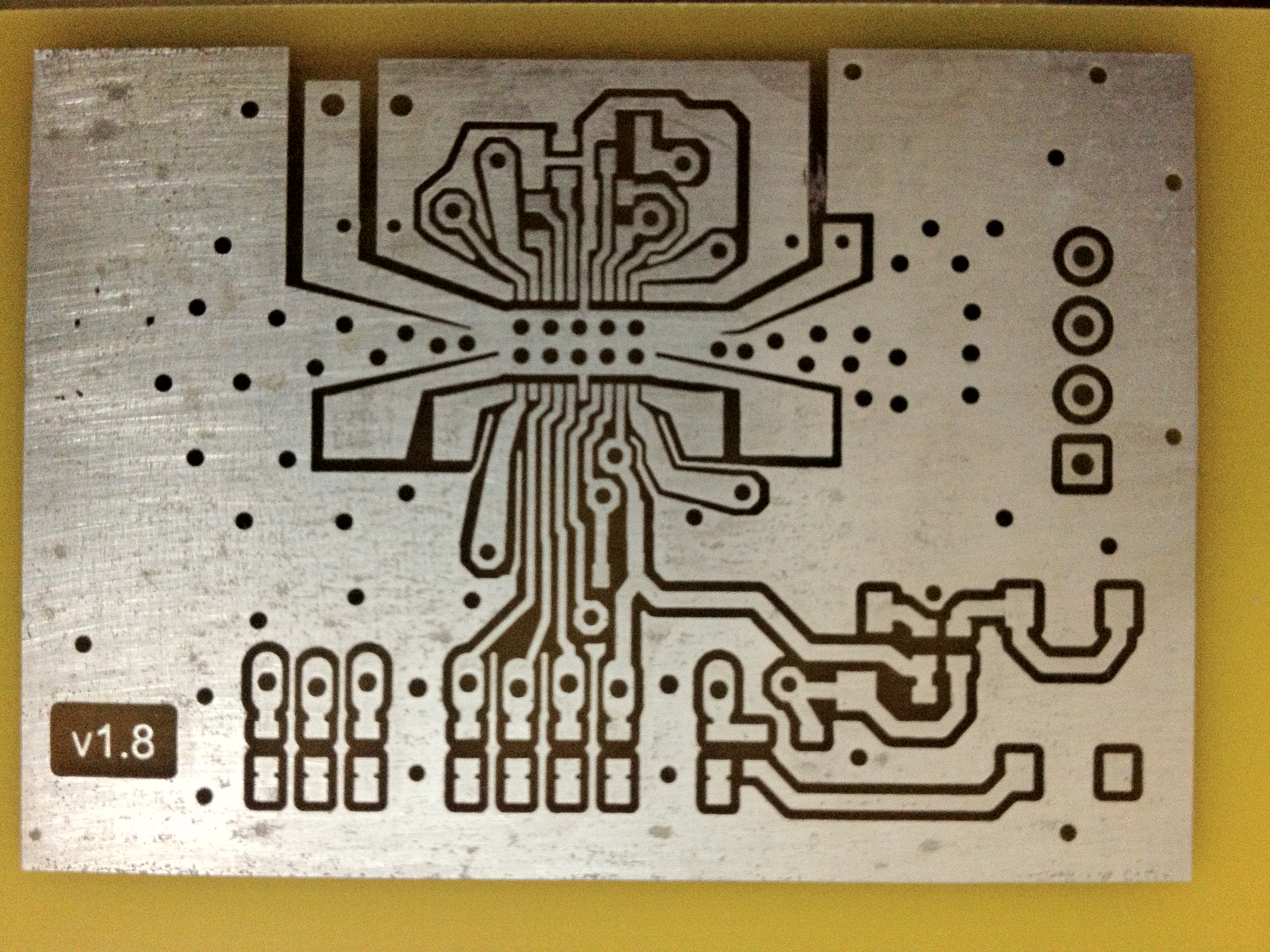 Perfect Single Or Double Sided Pcbs With The Toner Transfer Method You Have To Clean And Sand Top Bottom Of Circuitboard This Is An Earlier Version My A3987 Stepper Driver Board 50v 15a After Tinning Pads On Chip About 10 Mil Spacing